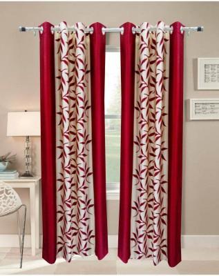 Handy Texty Polyester Maroon Printed Eyelet Door Curtain