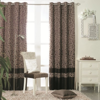 KC HOME Polyester Brown Floral Curtain Door Curtain