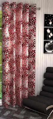 Shopgalore Polyester Maroon Abstract Eyelet Window & Door Curtain