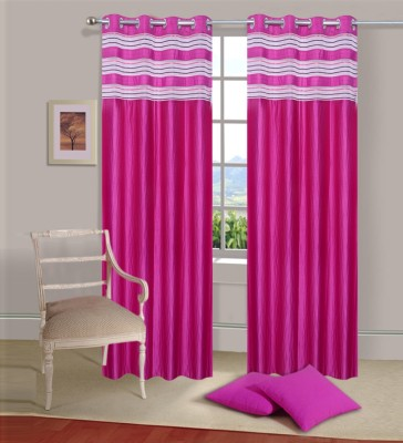 Ville Style Polyester Pink Solid Eyelet Door Curtain