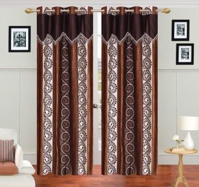 JH Polyester Brown Self Design Curtain Door Curtain