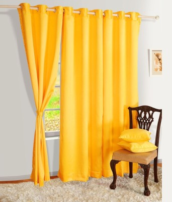 Angel Homes Polyester Yellow Floral Eyelet Long Door Curtain