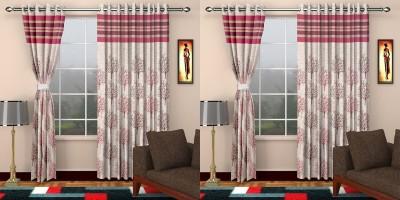 STC Jacquard Pink Self Design Eyelet Long Door Curtain