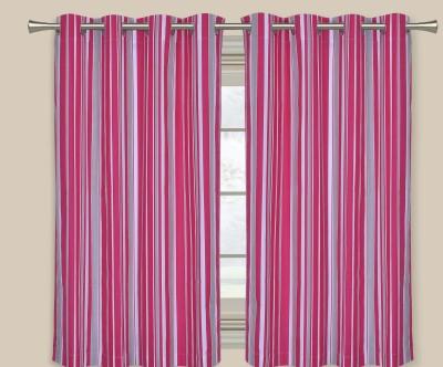 Elan Cotton Multicolor Striped Eyelet Door Curtain