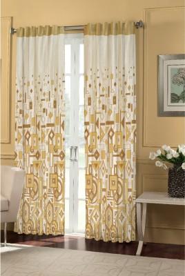 Dreamscape Polyester Beige Motif Eyelet Door Curtain
