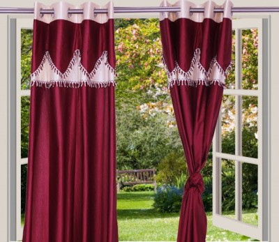 Desire Polyester Maroon, Beige Solid Eyelet Window Curtain