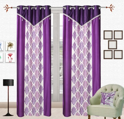 Comfort Zone Polyester Multiprinted Blue And White Damask Eyelet Long Door Curtain
