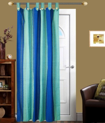 New Ladies Zone Cotton Green Striped Tab Top Door Curtain