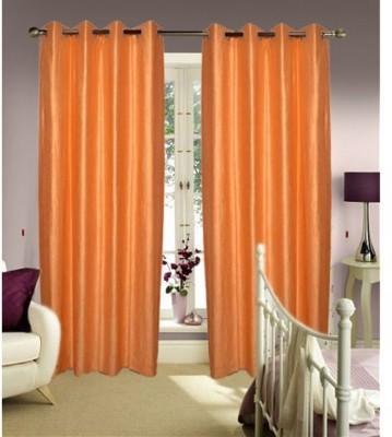 Swastik Polycotton Beige Plain Eyelet Window & Door Curtain
