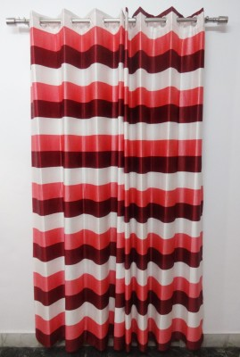 K Gallery Polyester Peach, Maroon Striped Eyelet Door Curtain