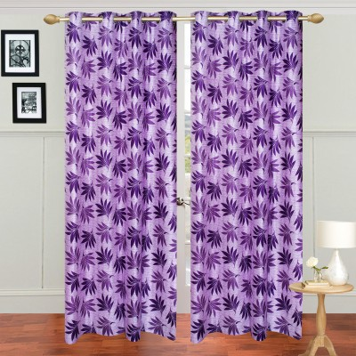Jars Collections Polyester Purple Floral Eyelet Long Door Curtain