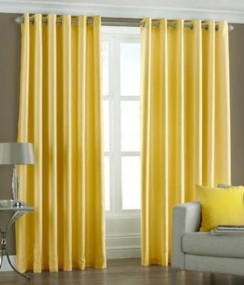 Panipat Textile Hub Polyester Yellow Plain Eyelet Window Curtain
