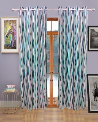 Sajawatt Polyester Blue Motif Eyelet Door Curtain