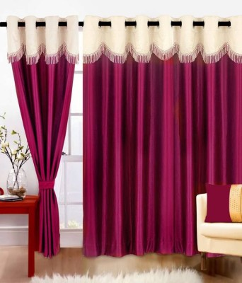 Divine Polyester Purple Plain Eyelet Door Curtain