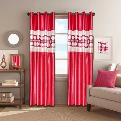Galaxy Decorations Polyester Pink Plain Eyelet Door Curtain