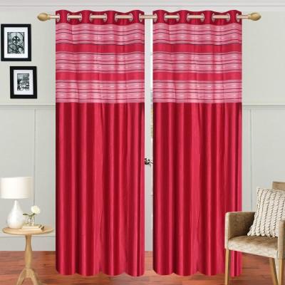 Decorista Polyester Red Solid Rod pocket Door Curtain