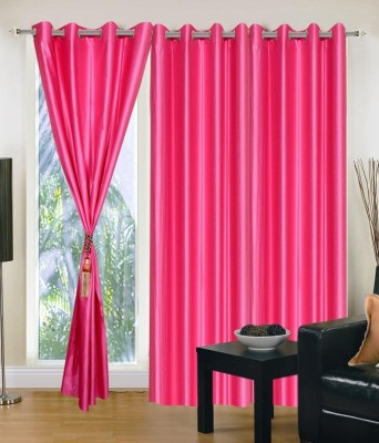 Sai Arpan Polyester Pink Solid Eyelet Window Curtain