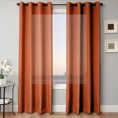 Kwality Polyester Orange Plain Eyelet Door Curtain