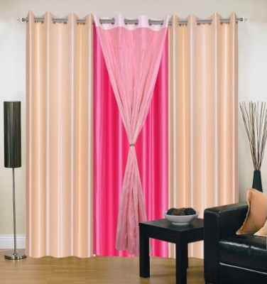 Brand Decor Polyester Beige, Pink Solid Eyelet Window Curtain