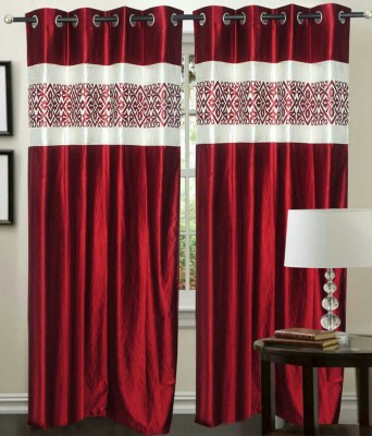 Madhav Product Polyester Maroon Floral Eyelet Door Curtain