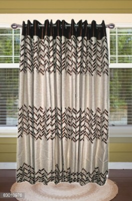 shoppeholics Polyester Brown Geometric Curtain Door Curtain