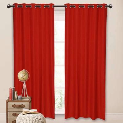 Elan Cotton Red Solid Eyelet Window Curtain