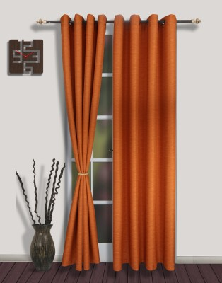 S9home by Seasons Polyester Orange Solid Eyelet Door Curtain
