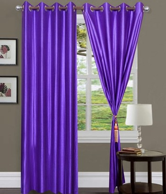 Fogg Polyester Blue Solid Tab Top Door Curtain