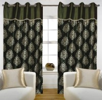 Home Candy Polyester Green Floral Eyelet Door Curtain(212 cm in Height, Pack of 2)