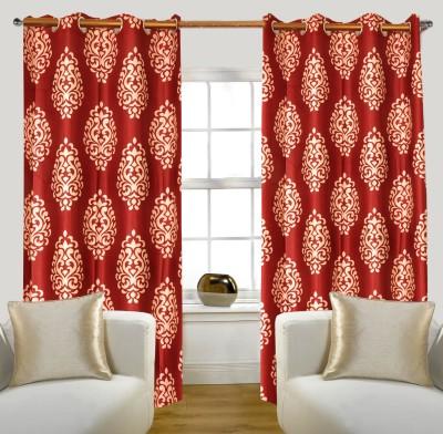 Glamora Interiors Polyester Maroon Printed Curtain Window & Door Curtain