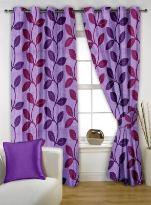 Story @ Home Polyester Purple Printed Eyelet Window Curtain