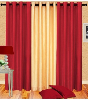 Home Fashion Gallery Polyester Multicolor Plain Eyelet Window Curtain