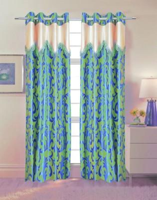 TT Polyester Green Printed Eyelet Door Curtain