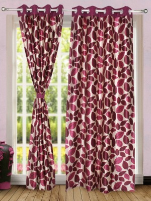 Wind Drape Polyester Maroon Floral Ring Rod Door Curtain
