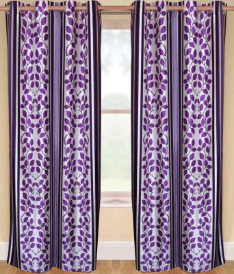 Sanaya Polycotton Purple Printed Eyelet Window Curtain