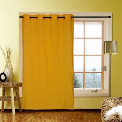 Kings Polycotton Yellow Striped Eyelet Window Curtain