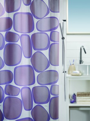 Spread Polyester Mauve Printed Eyelet Shower Curtain