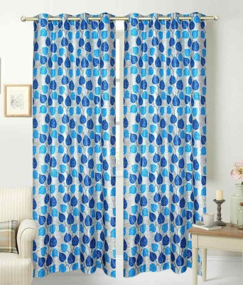 Deco Home Polyester Blue Printed Eyelet Window Curtain