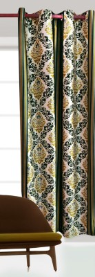 India Furnish Polyester Green Floral Eyelet Door Curtain