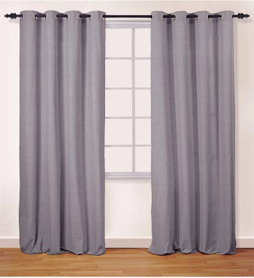 Oro Decor Polyester Ash Solid Eyelet Window Curtain