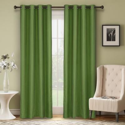 Soumya Polycotton Green Plain Eyelet Door Curtain