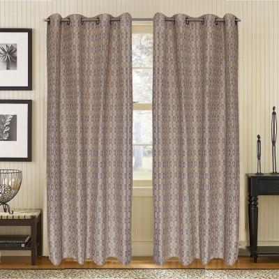 S9home by Seasons Polyester Beige Geometric Eyelet Door Curtain
