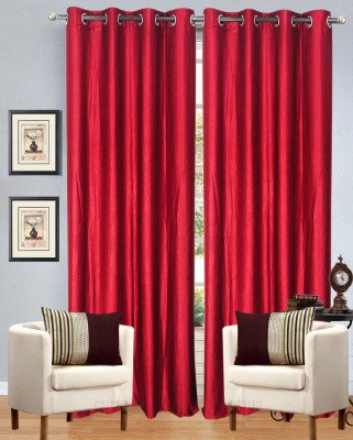 Optimistic Home Furnishing Polyester Red Solid Eyelet Door Curtain