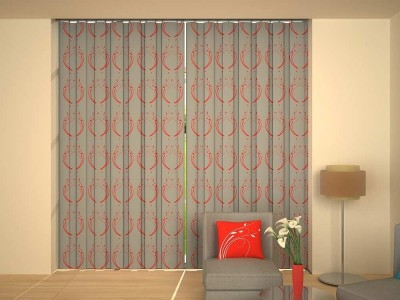 House This Cotton Grey, Red Solid Eyelet Window Curtain