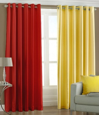 Sls Dreams Polyester Red, Yellow Plain Eyelet Door Curtain
