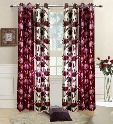 Homefab India Polyester Maroon Paisley Eyelet Long Door Curtain