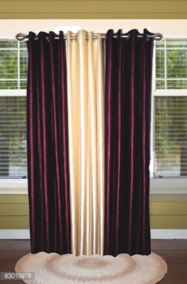 shoppeholics Polyester Voilet & Off Whiite Plain Curtain Door Curtain
