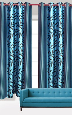 India Furnish Polyester Turquoise Floral Eyelet Door Curtain