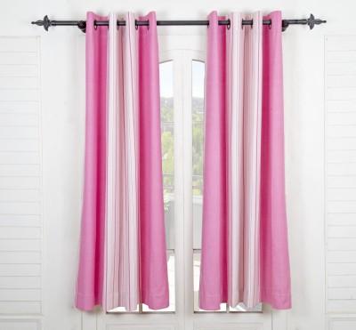 Maspar Cotton Pink Striped Eyelet Window Curtain