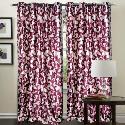Hargunz Polyester Lavender Floral Eyelet Door Curtain